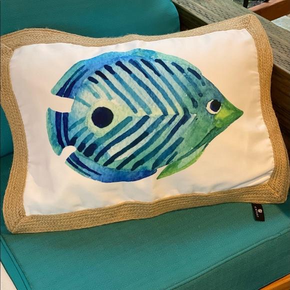 Blue Wave Tropical Fish throw pillow